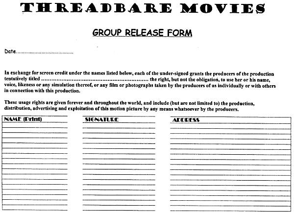 Sample Actors Release Form.